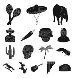 Country mexico black icons in set collection vector