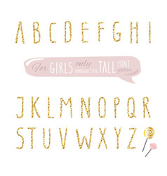 Cute hand drawn narrow glitter font for girls vector