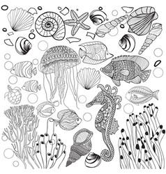 decorative underwater world sea life fishes vector image
