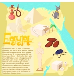 Design Egypt map travel and landmark concept vector image