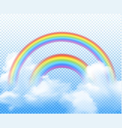 Double rainbow realistic composition vector
