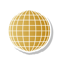 earth globe sign golden gradient icon vector image