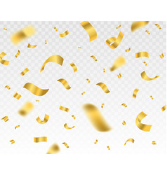 falling shiny golden confetti on a transparent vector image