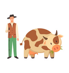farmer in hat and spotted cow cartoon domestic vector image