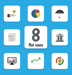 Flat icon incoming set of hand with coin document vector