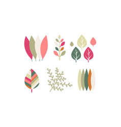 flat set colorful leaves botanical vector image
