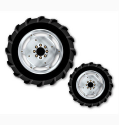 front and rear tractor wheels vector image
