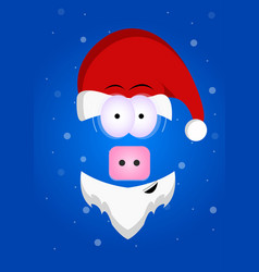 Funny piggy with a beard in santas hat merry vector
