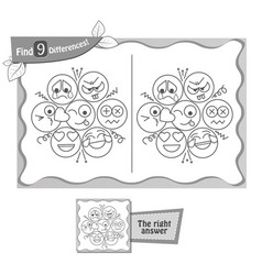 game black find 9 differences emotions vector image