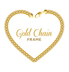 Gold chain heart love border frame wreath shape vector