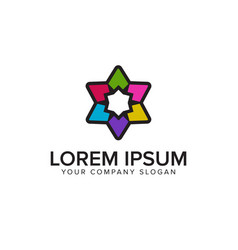 graphic star logo with multicolor design concept vector image
