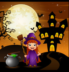 Halloween background with girl witch holding broom vector