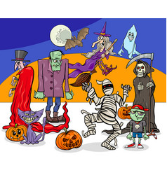 Halloween holiday cartoon spooky characters group vector