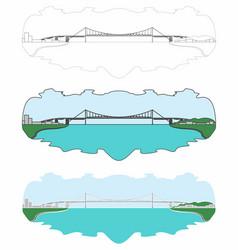 Hercilio luz bridge skyline full colored outline vector