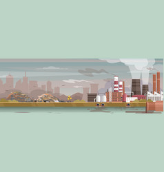 Industry manufacture polluted landscape vector