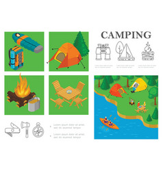 isometric camping colorful composition vector image