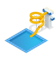Isometric colourful water slide and tubes with vector