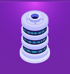 isometric database server on purple vector image