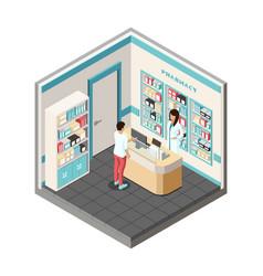 Isometric pharmacy doctor pharmacist vector
