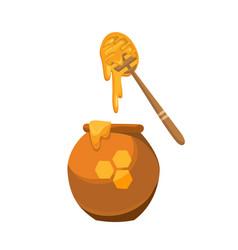 Jar and dipper for honey ceramic jar can vector