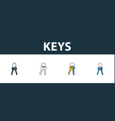 keys icon set four elements in diferent styles vector image