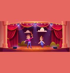 kids on theatre stage little children actors vector image