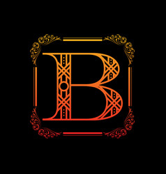Letter b with ornament vector