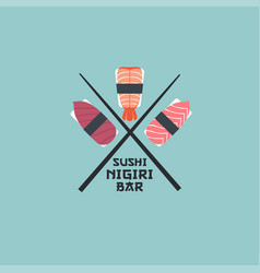 Logo nigiri sushi shrimps japanese chopsticks vector
