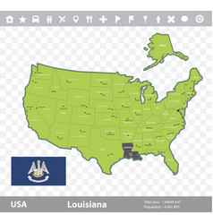 Louisiana flag and map vector