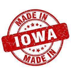 Made in iowa red grunge round stamp vector