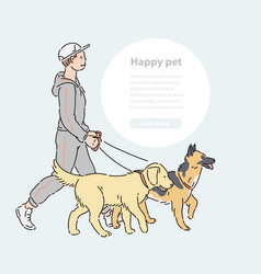 Man with two large dogs on leash line art vector