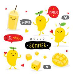 mango fruit summer cartoon character vector image
