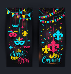 mardi gras colored vertical banners set with a vector image