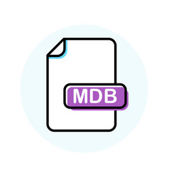 mdb file format extension color line icon vector image