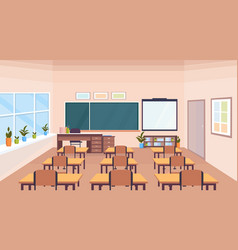 modern school classroom interior chalk board desks vector image