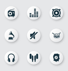 music icons set with gramophone headphone vector image