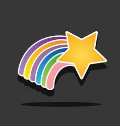 nice rainbow with star in sky design vector image