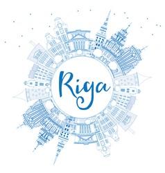 Outline Riga Skyline with Blue Landmarks vector image
