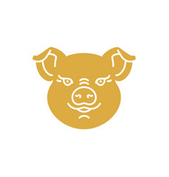 Pig icon golden head piggy on a white baclground vector