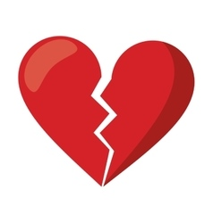 Red heart broken sad separation vector