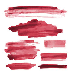 Red watercolor shapes paint brush strokes vector