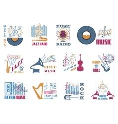 Retro music emblems vector