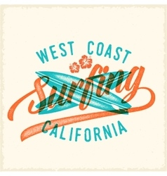 Retro print style surfing label or logo vector