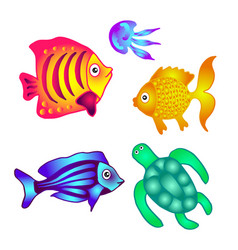 Sea fish turtle and jellyfish to decorate posters vector