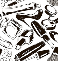 seamless pattern womens cosmetics and shoes vector image