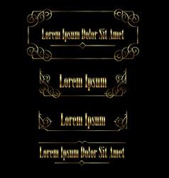 set golden vintage calligraphic frames borders vector image
