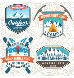 Set mountain expedition patch concept vector
