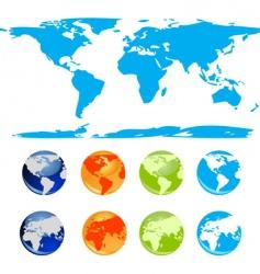 set of earth glossy globe vector image
