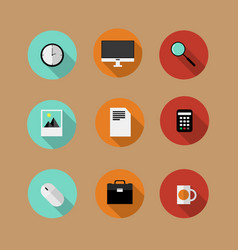 set of flat bussines icons vector image