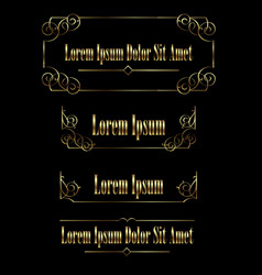 set of golden vintage calligraphic frames borders vector image